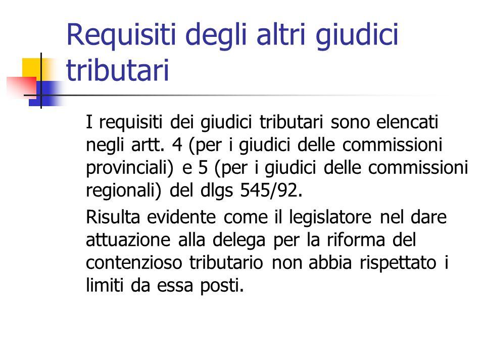 Requisiti degli altri giudici tributari