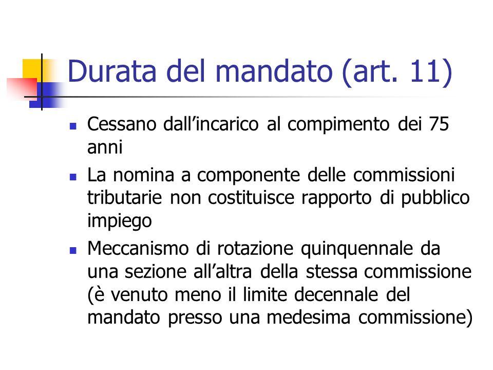 Durata del mandato (art. 11)