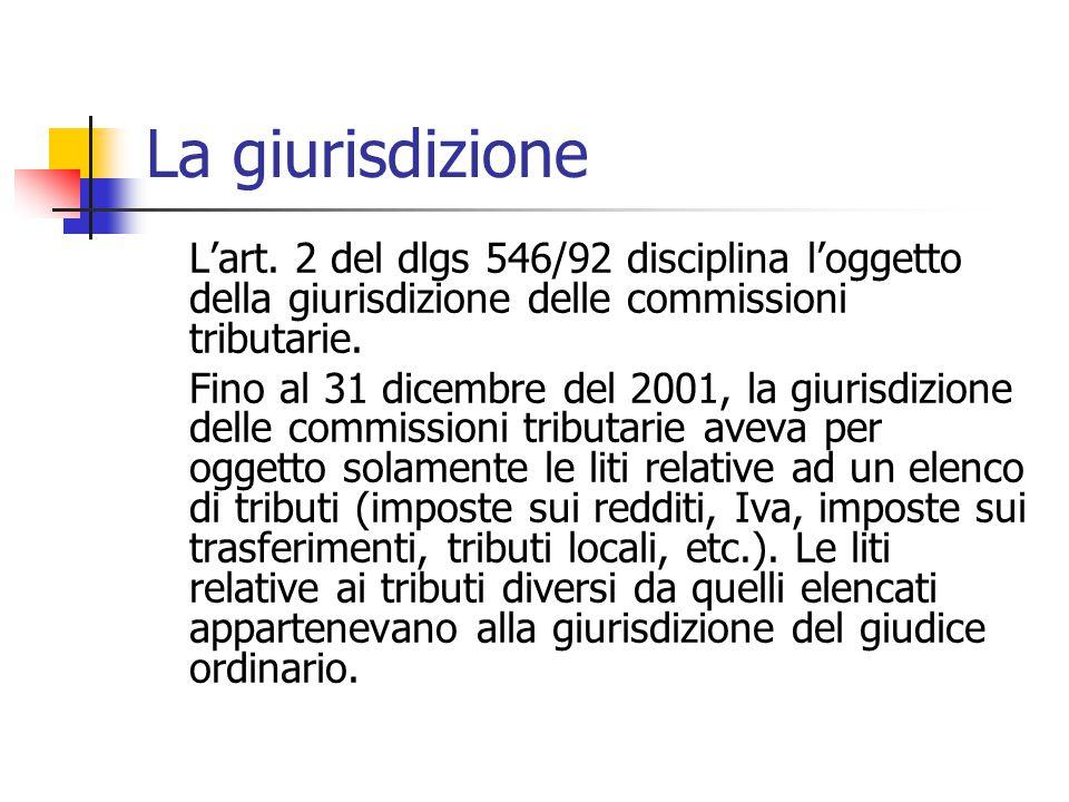 La giurisdizione L'art. 2 del dlgs 546/92 disciplina l'oggetto della giurisdizione delle commissioni tributarie.