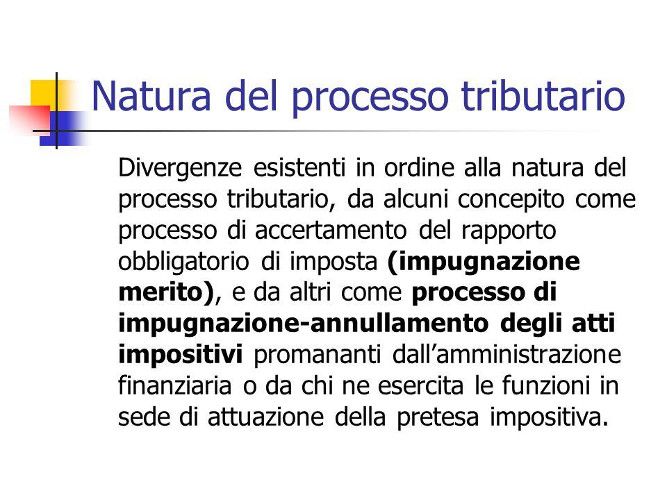 Natura del processo tributario