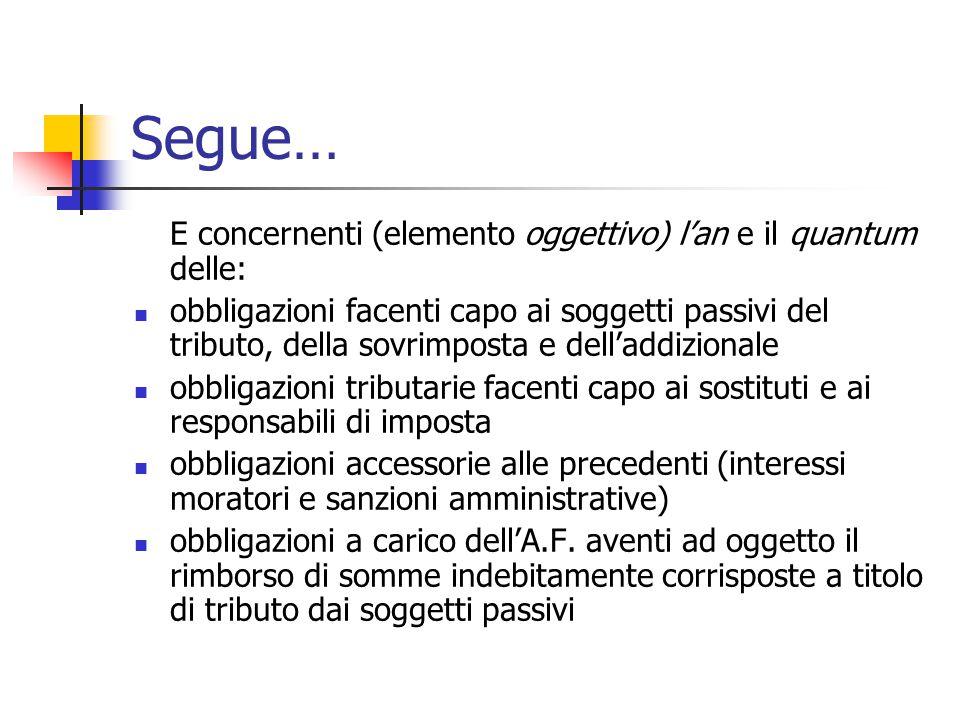 Segue… E concernenti (elemento oggettivo) l'an e il quantum delle:
