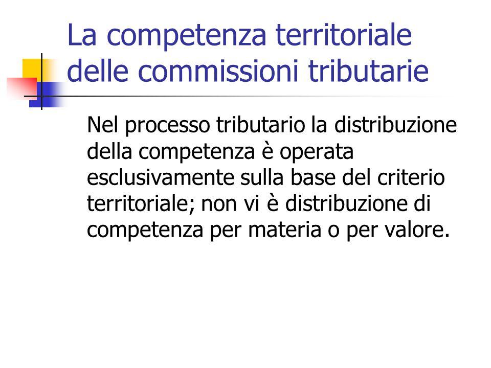 La competenza territoriale delle commissioni tributarie