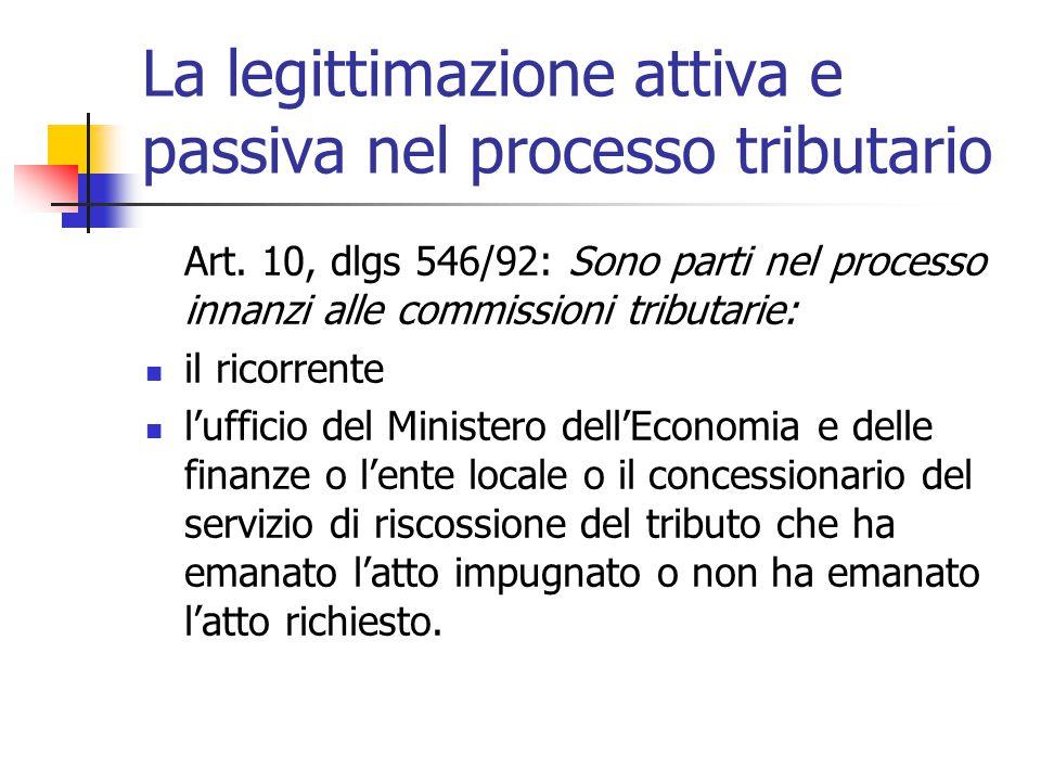 La legittimazione attiva e passiva nel processo tributario