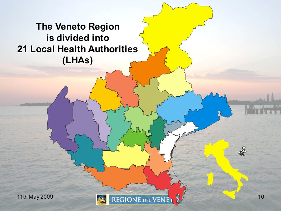 The Veneto Region is divided into 21 Local Health Authorities (LHAs)