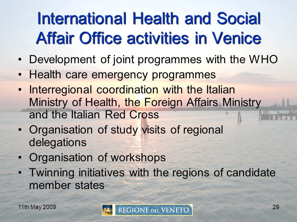 International Health and Social Affair Office activities in Venice