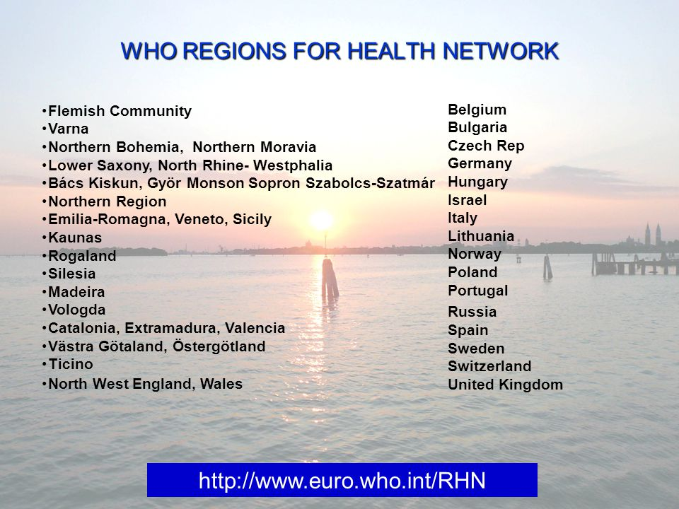 WHO REGIONS FOR HEALTH NETWORK