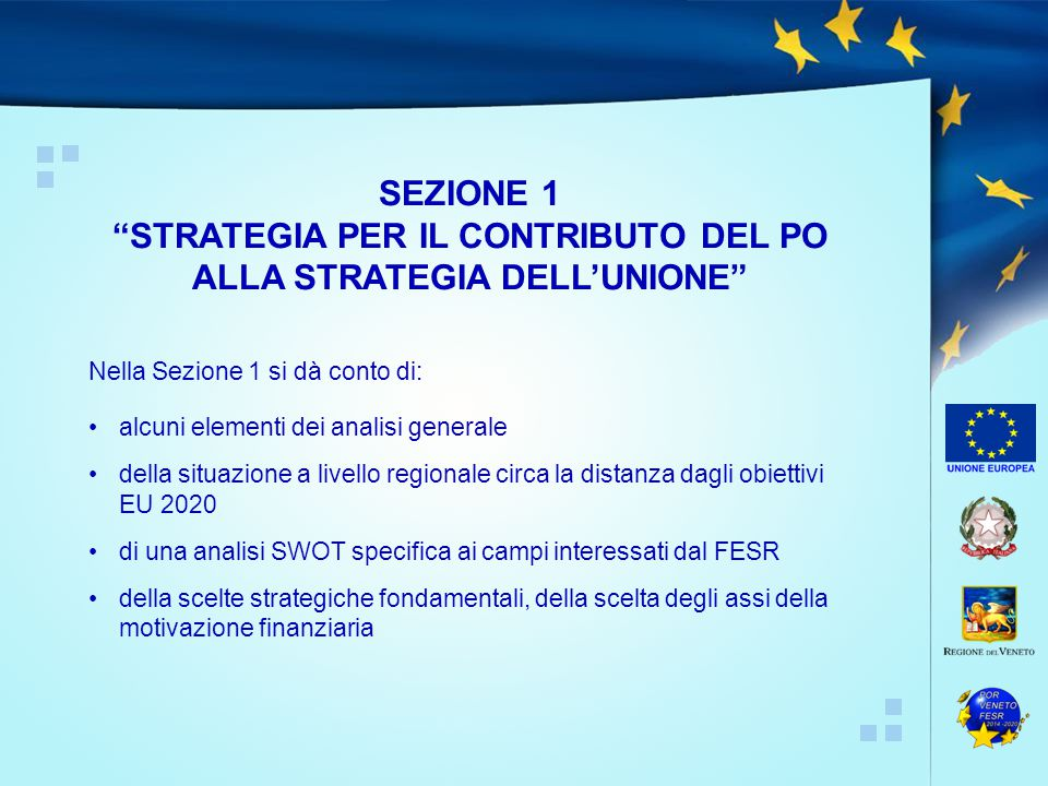 STRATEGIA PER IL CONTRIBUTO DEL PO ALLA STRATEGIA DELL'UNIONE
