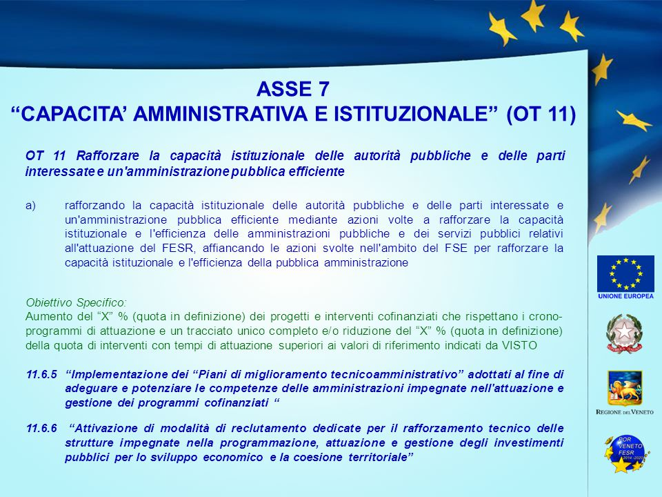 CAPACITA' AMMINISTRATIVA E ISTITUZIONALE (OT 11)