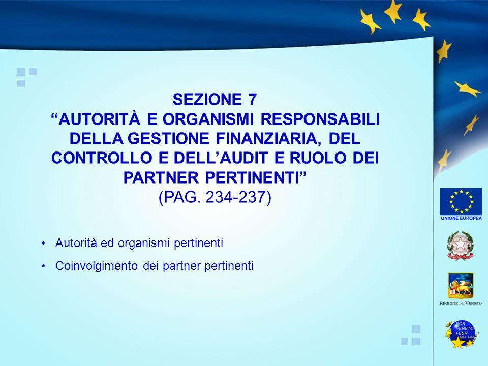 SEZIONE 7 AUTORITÀ E ORGANISMI RESPONSABILI DELLA GESTIONE FINANZIARIA, DEL CONTROLLO E DELL'AUDIT E RUOLO DEI PARTNER PERTINENTI
