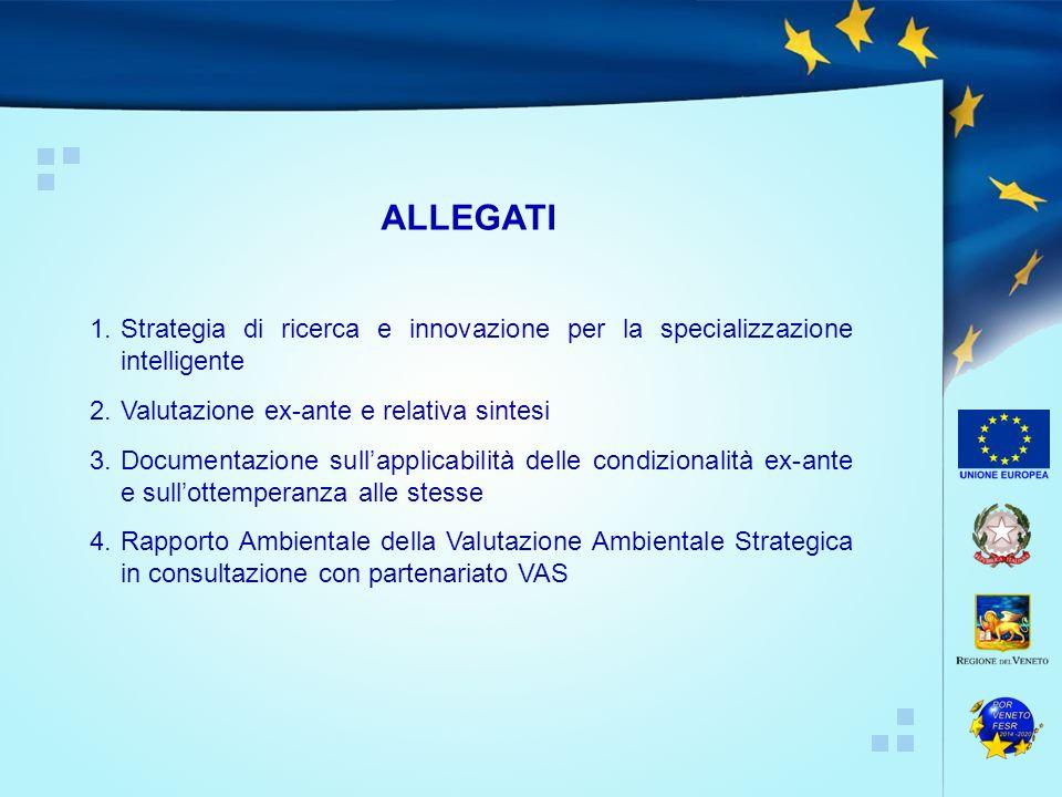 ALLEGATI 1. Strategia di ricerca e innovazione per la specializzazione intelligente. 2. Valutazione ex-ante e relativa sintesi.