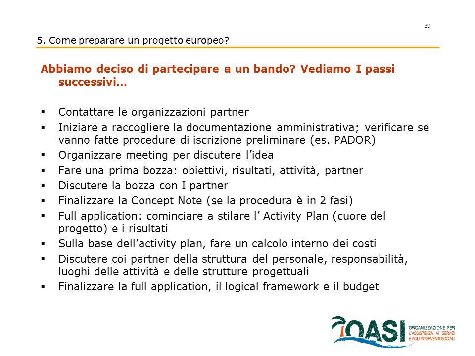 5. Come preparare un progetto europeo