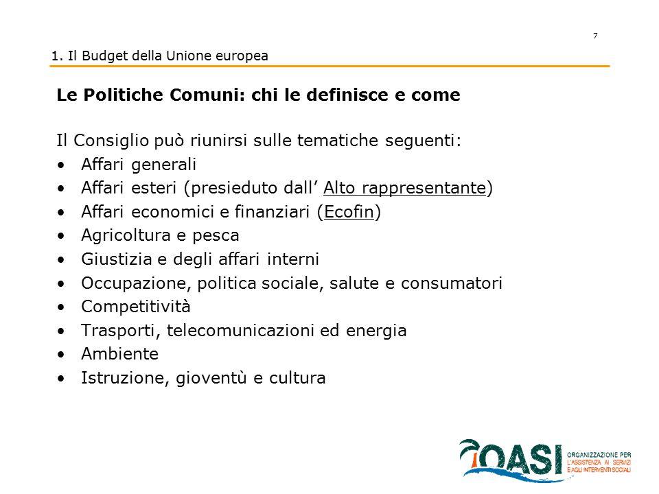 1. Il Budget della Unione europea