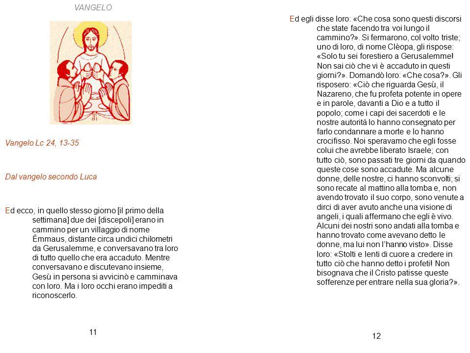 VANGELO Vangelo Lc 24, 13-35. Dal vangelo secondo Luca.
