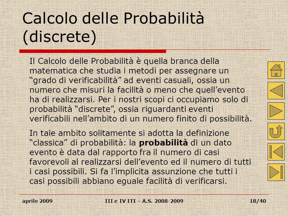 Calcolo delle Probabilità (discrete)