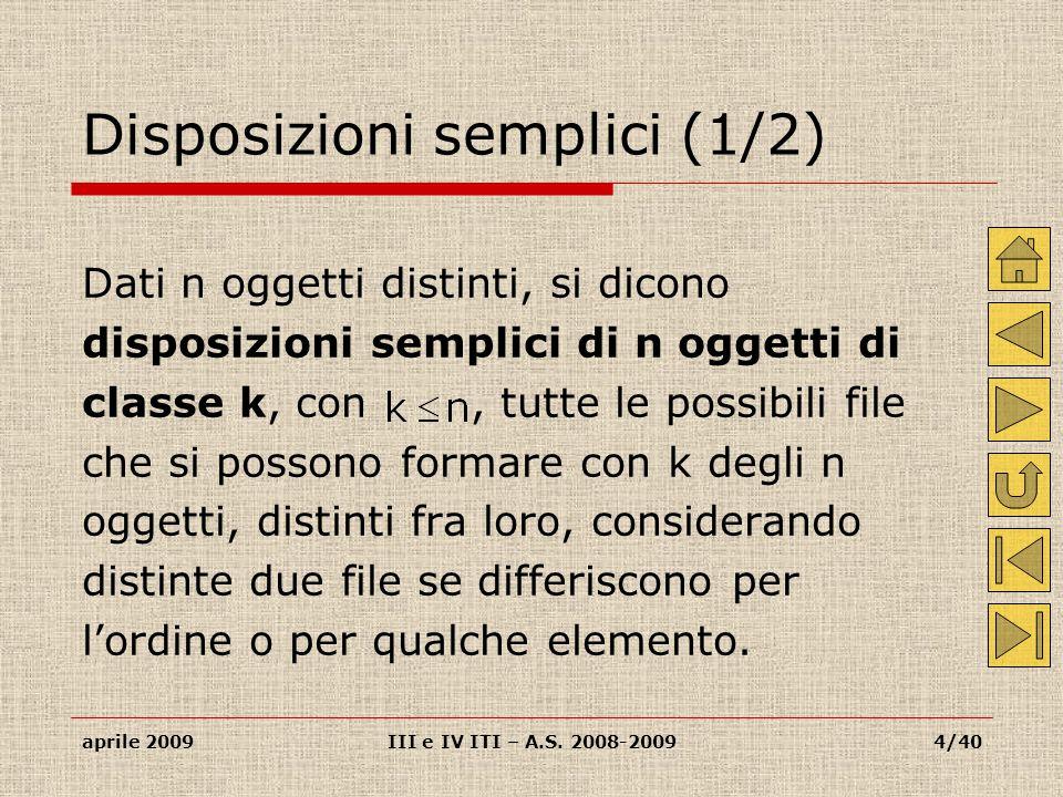 Disposizioni semplici (1/2)