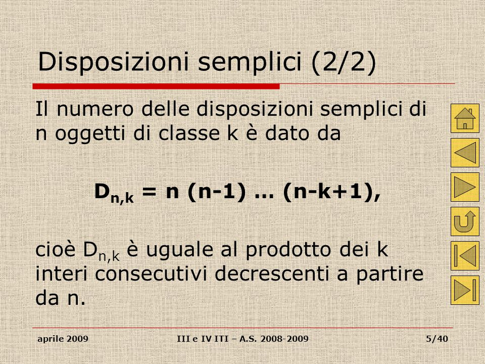 Disposizioni semplici (2/2)