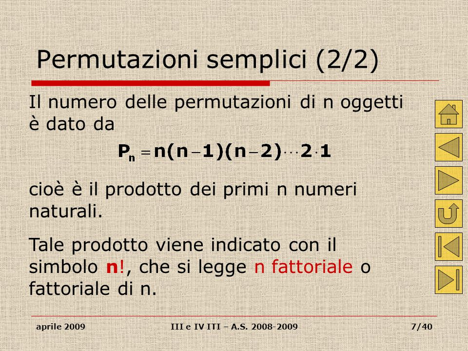 Permutazioni semplici (2/2)