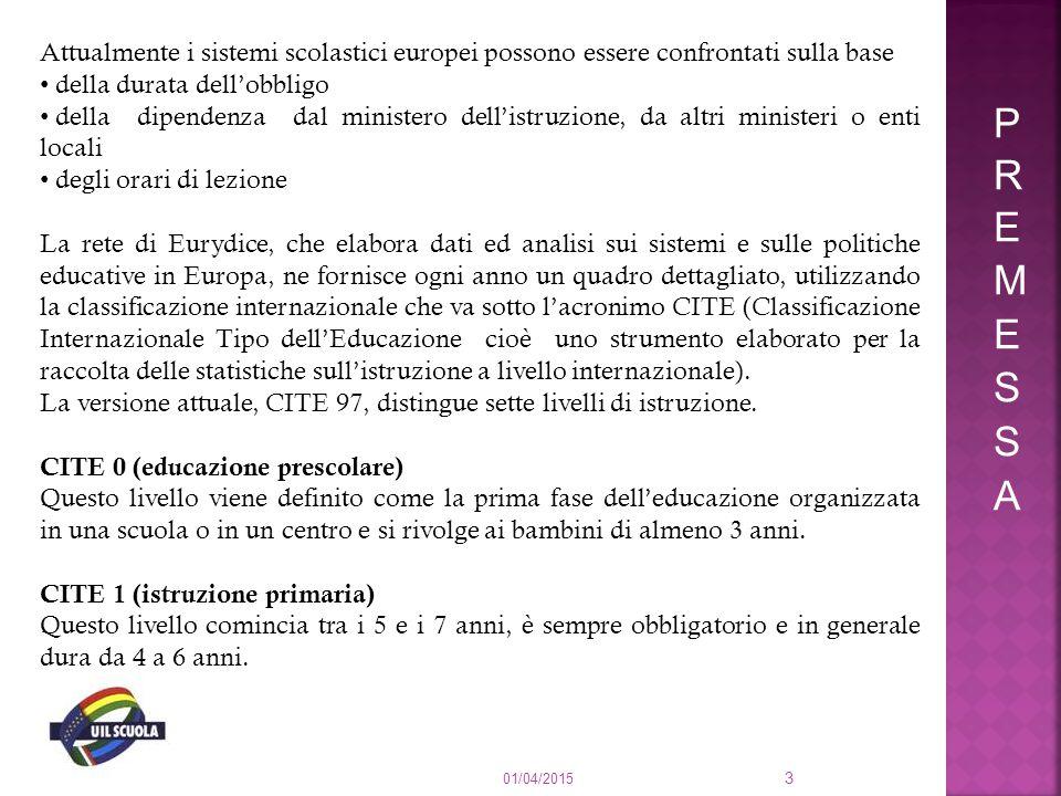 Attualmente i sistemi scolastici europei possono essere confrontati sulla base