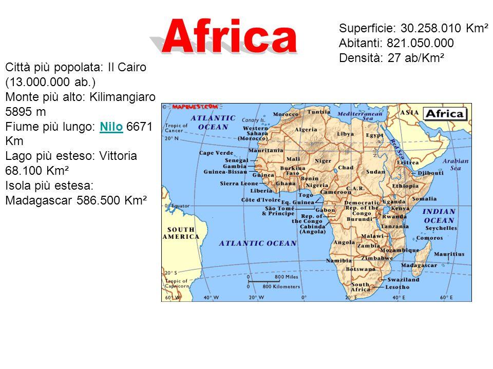 Africa Superficie: 30.258.010 Km² Abitanti: 821.050.000 Densità: 27 ab/Km².