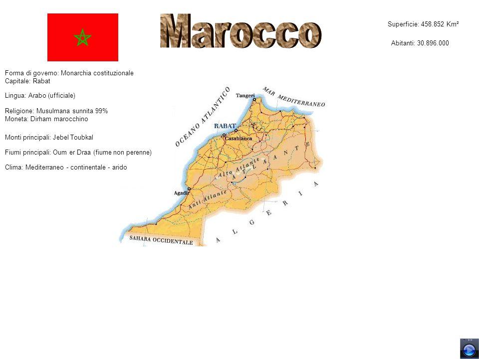 Marocco Superficie: 458.852 Km² Abitanti: 30.896.000