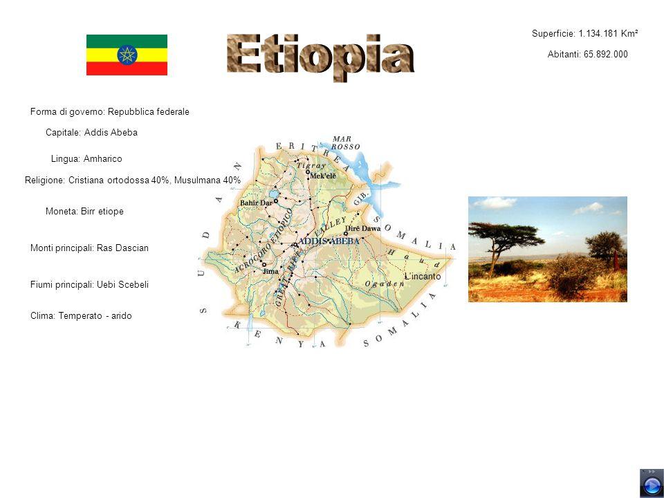 Etiopia L incanto Superficie: 1.134.181 Km² Abitanti: 65.892.000