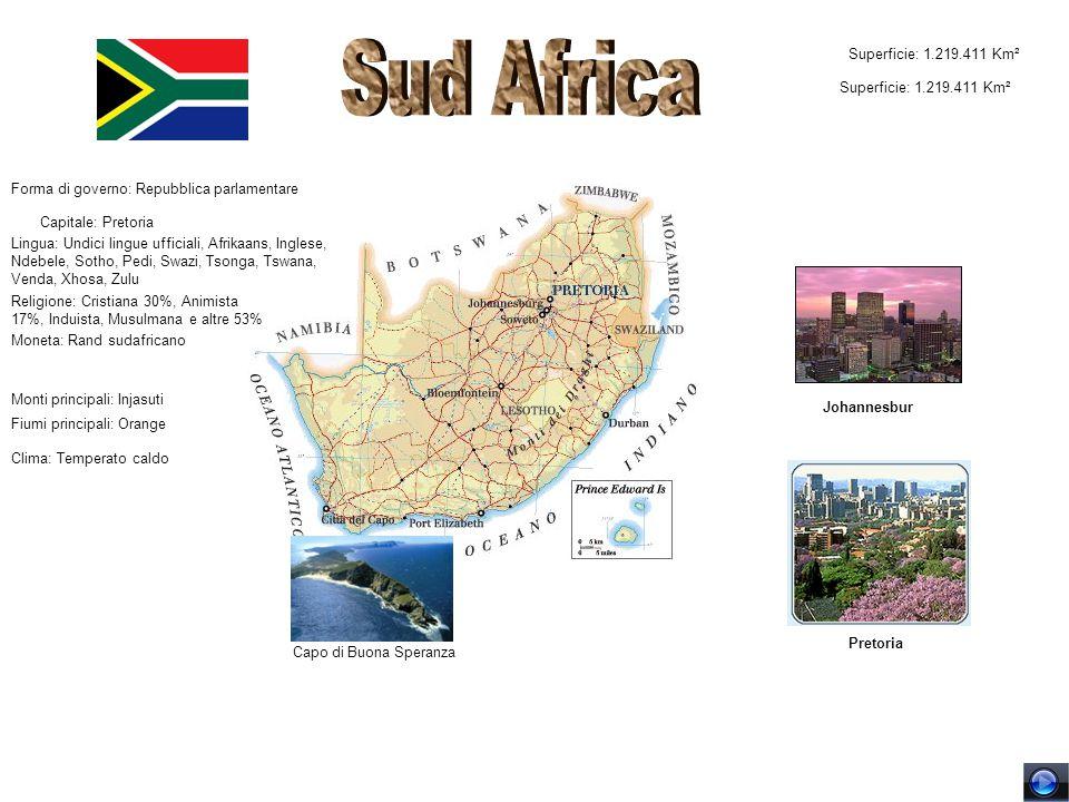 Sud Africa Superficie: 1.219.411 Km² Superficie: 1.219.411 Km²