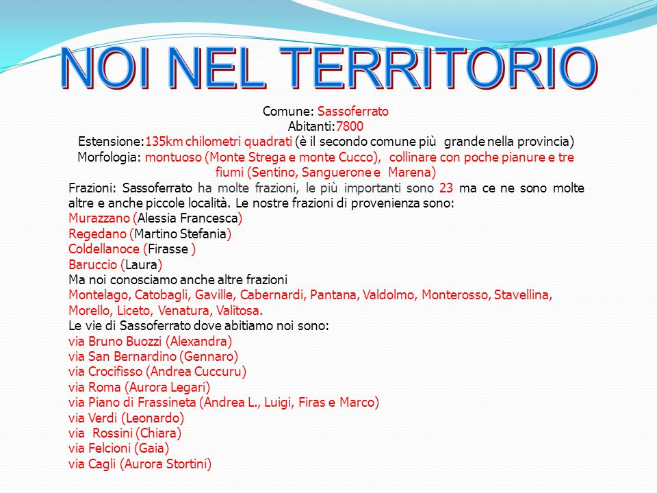 NOI NEL TERRITORIO Comune: Sassoferrato Abitanti:7800