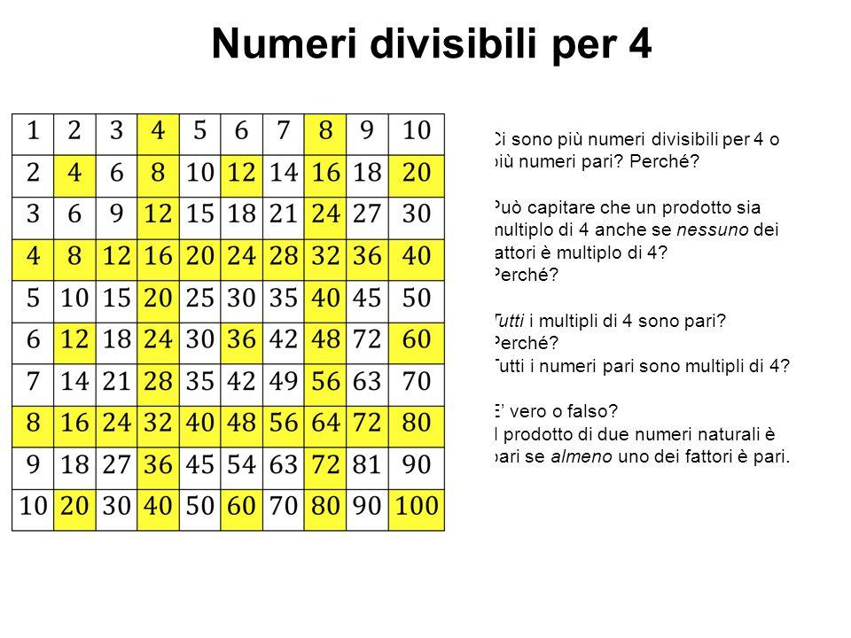 Numeri divisibili per 4 Ci sono più numeri divisibili per 4 o più numeri pari Perché