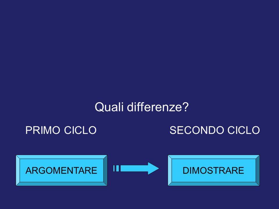 Quali differenze PRIMO CICLO SECONDO CICLO ARGOMENTARE DIMOSTRARE