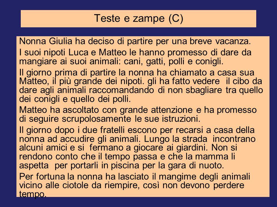 Teste e zampe (C) Nonna Giulia ha deciso di partire per una breve vacanza.