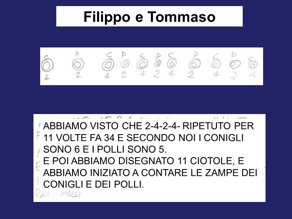 Filippo e Tommaso ABBIAMO VISTO CHE 2-4-2-4- RIPETUTO PER 11 VOLTE FA 34 E SECONDO NOI I CONIGLI SONO 6 E I POLLI SONO 5.