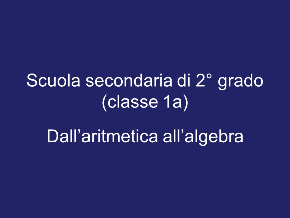 Scuola secondaria di 2° grado (classe 1a)
