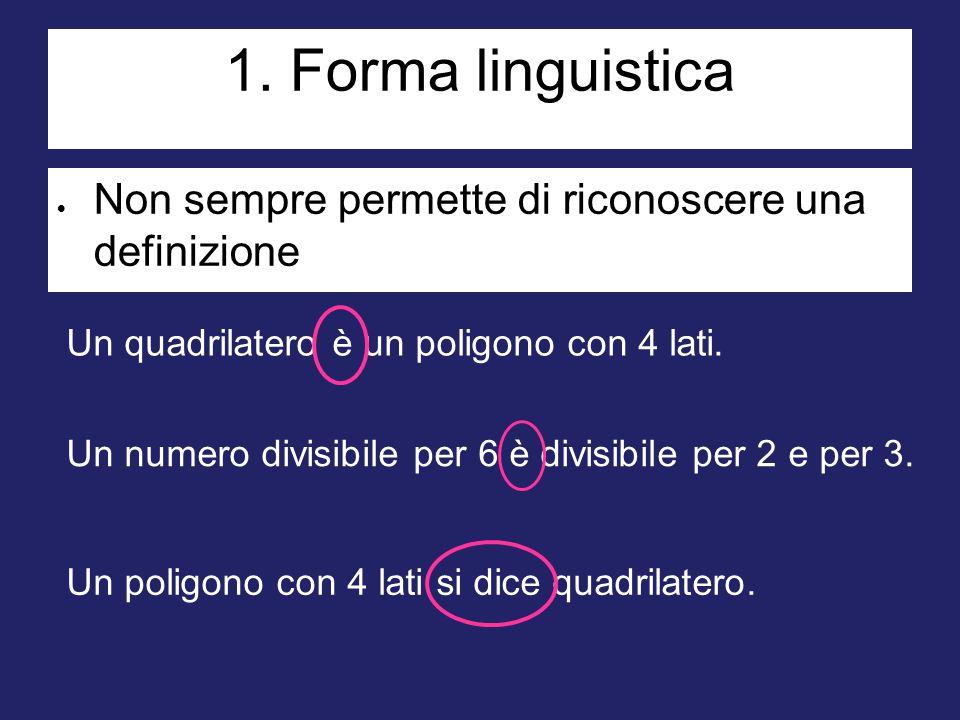 182182182 1. Forma linguistica. Non sempre permette di riconoscere una definizione. Un quadrilatero è un poligono con 4 lati.