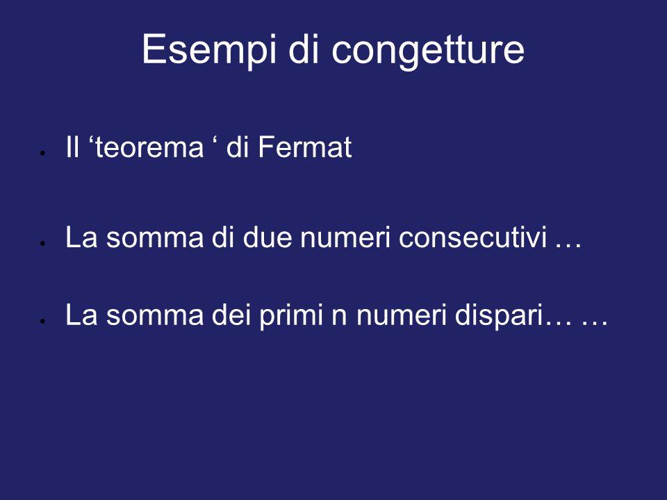 Esempi di congetture Il 'teorema ' di Fermat