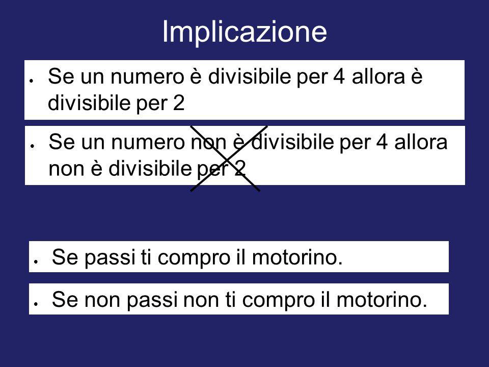 Implicazione Se un numero è divisibile per 4 allora è divisibile per 2