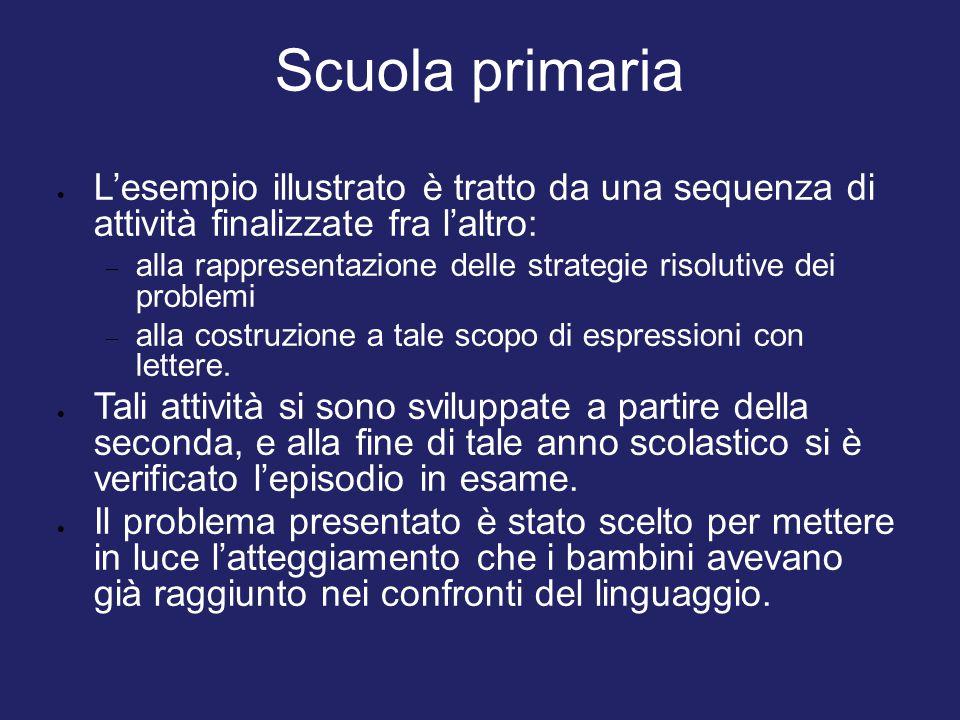 Scuola primaria L'esempio illustrato è tratto da una sequenza di attività finalizzate fra l'altro: