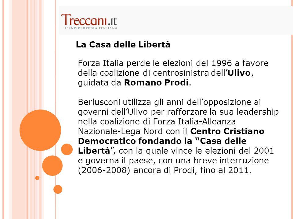 La Casa delle Libertà Forza Italia perde le elezioni del 1996 a favore della coalizione di centrosinistra dell'Ulivo, guidata da Romano Prodi.