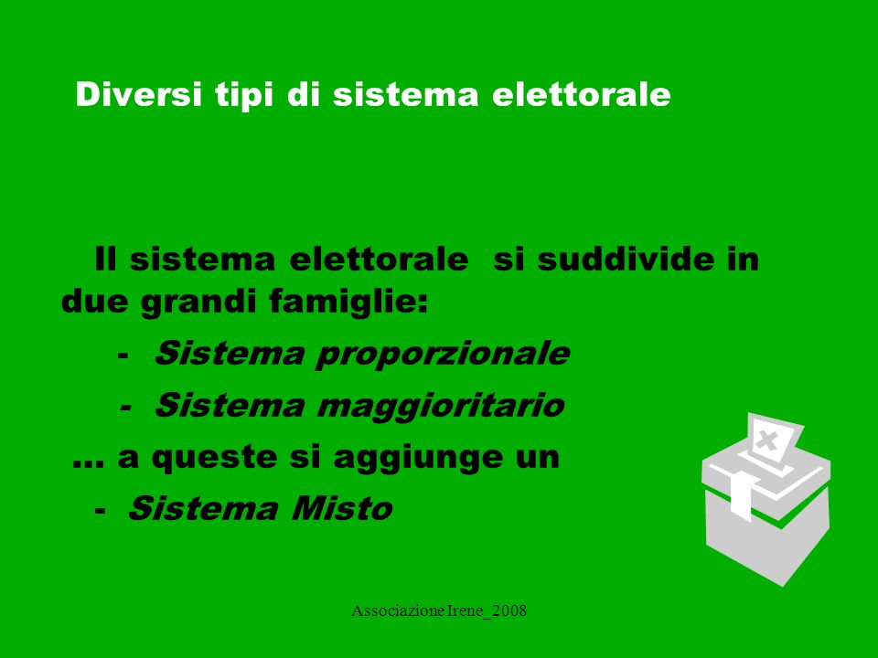 I sistemi elettorali associazione irene ppt scaricare - Diversi tipi di figa ...