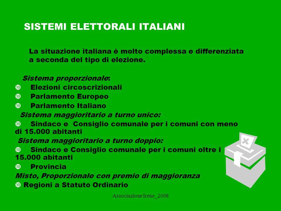 SISTEMI ELETTORALI ITALIANI