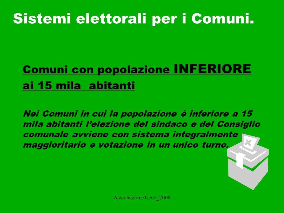 Sistemi elettorali per i Comuni.