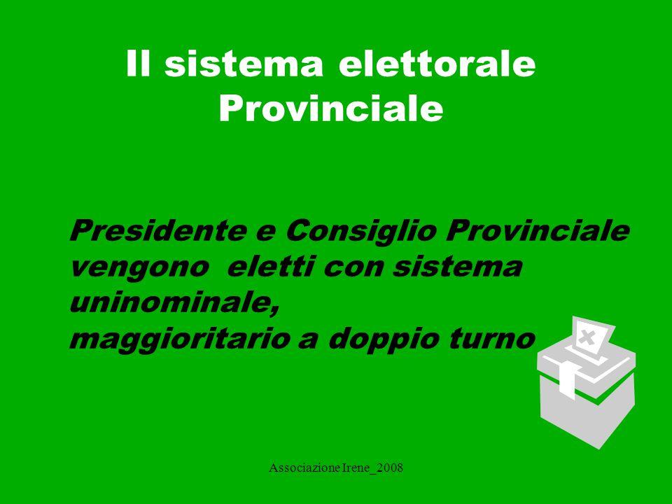 Il sistema elettorale Provinciale