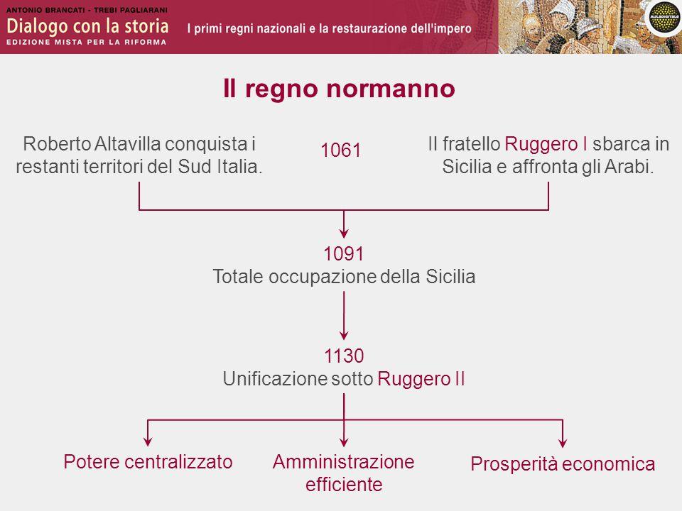 Il regno normanno Roberto Altavilla conquista i restanti territori del Sud Italia. Il fratello Ruggero I sbarca in Sicilia e affronta gli Arabi.