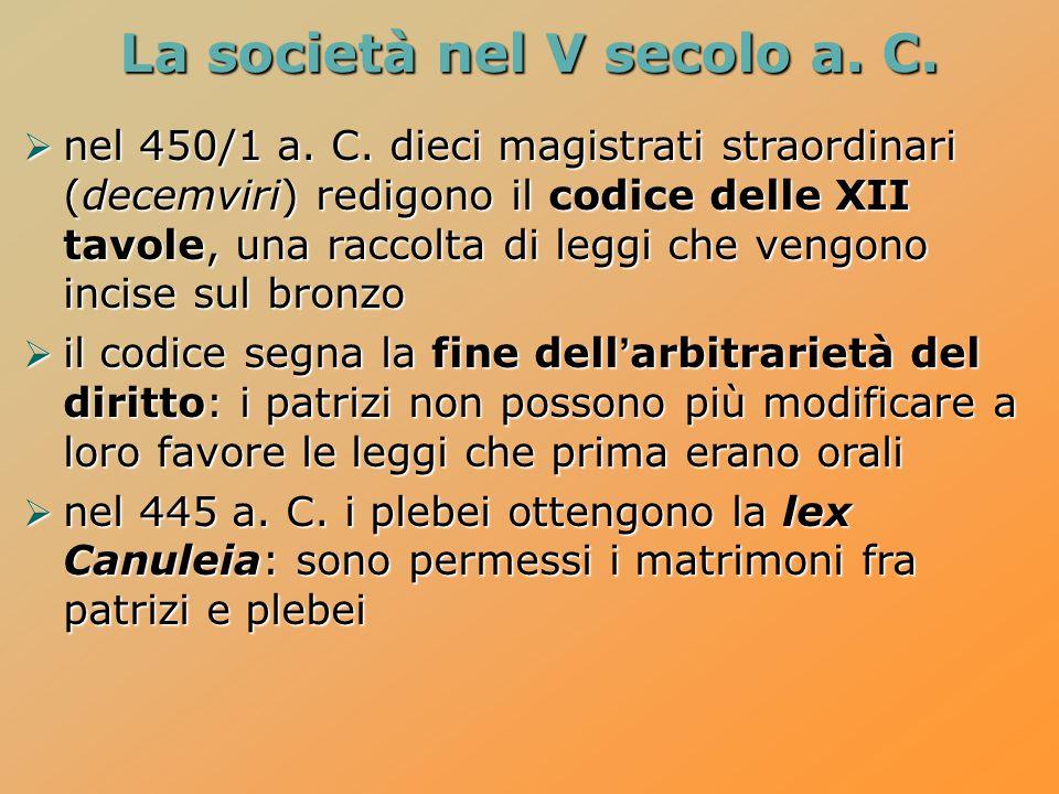 La società nel V secolo a. C.