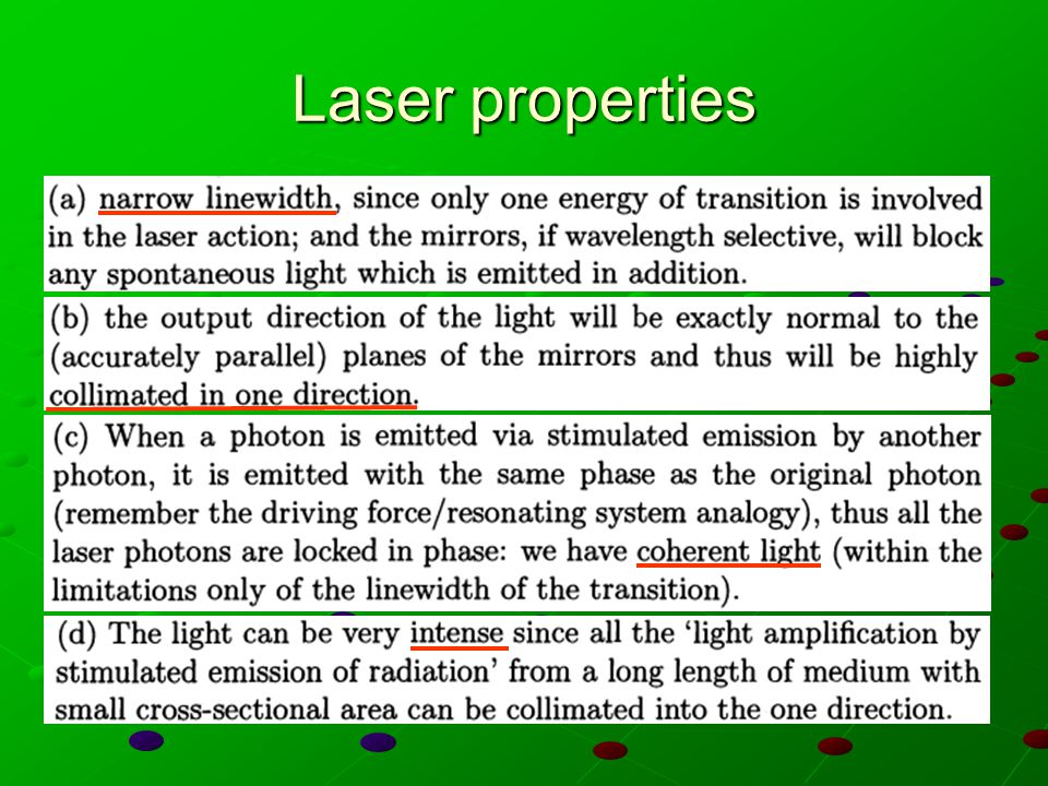 Laser properties