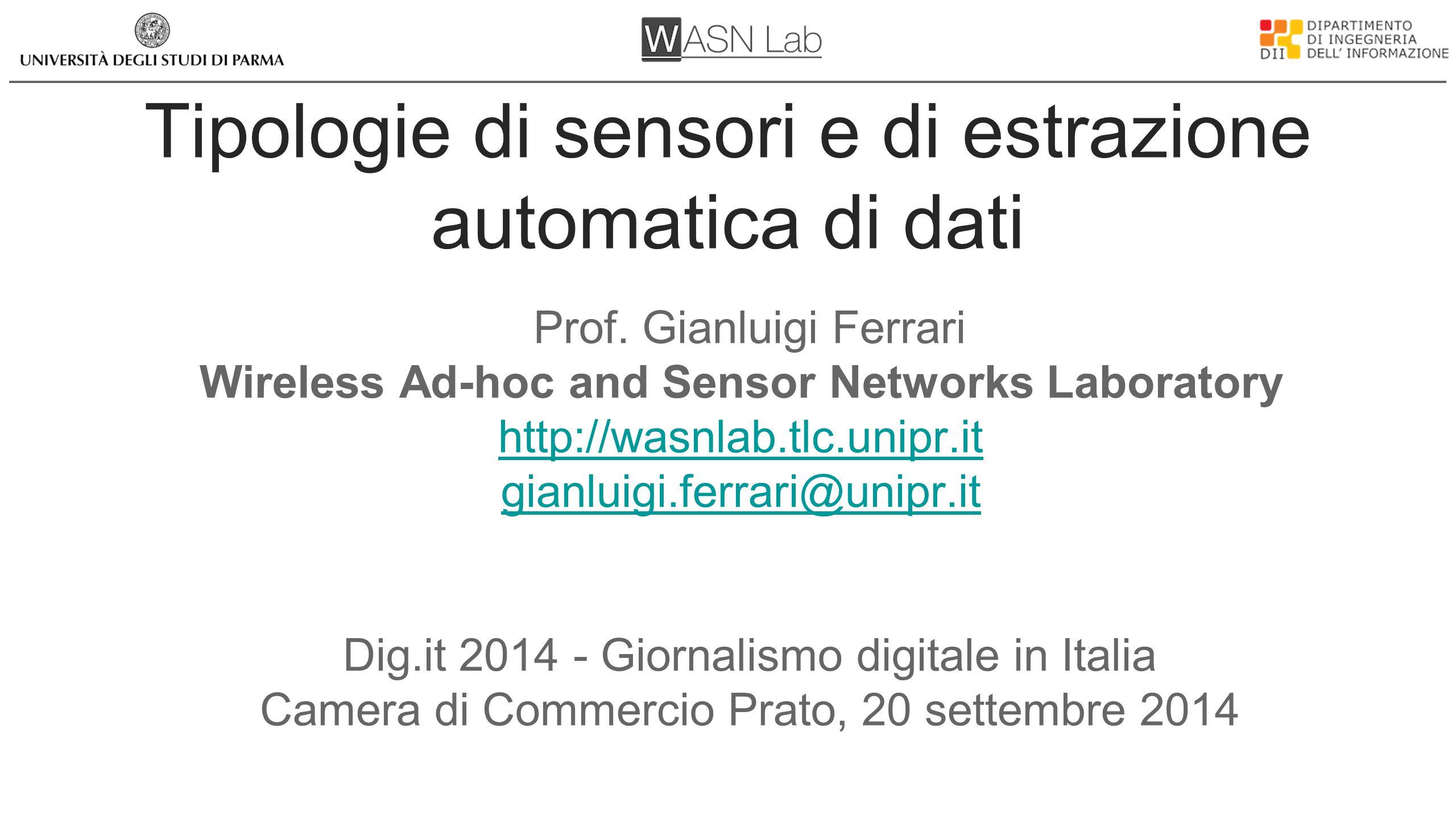 Tipologie di sensori e di estrazione automatica di dati