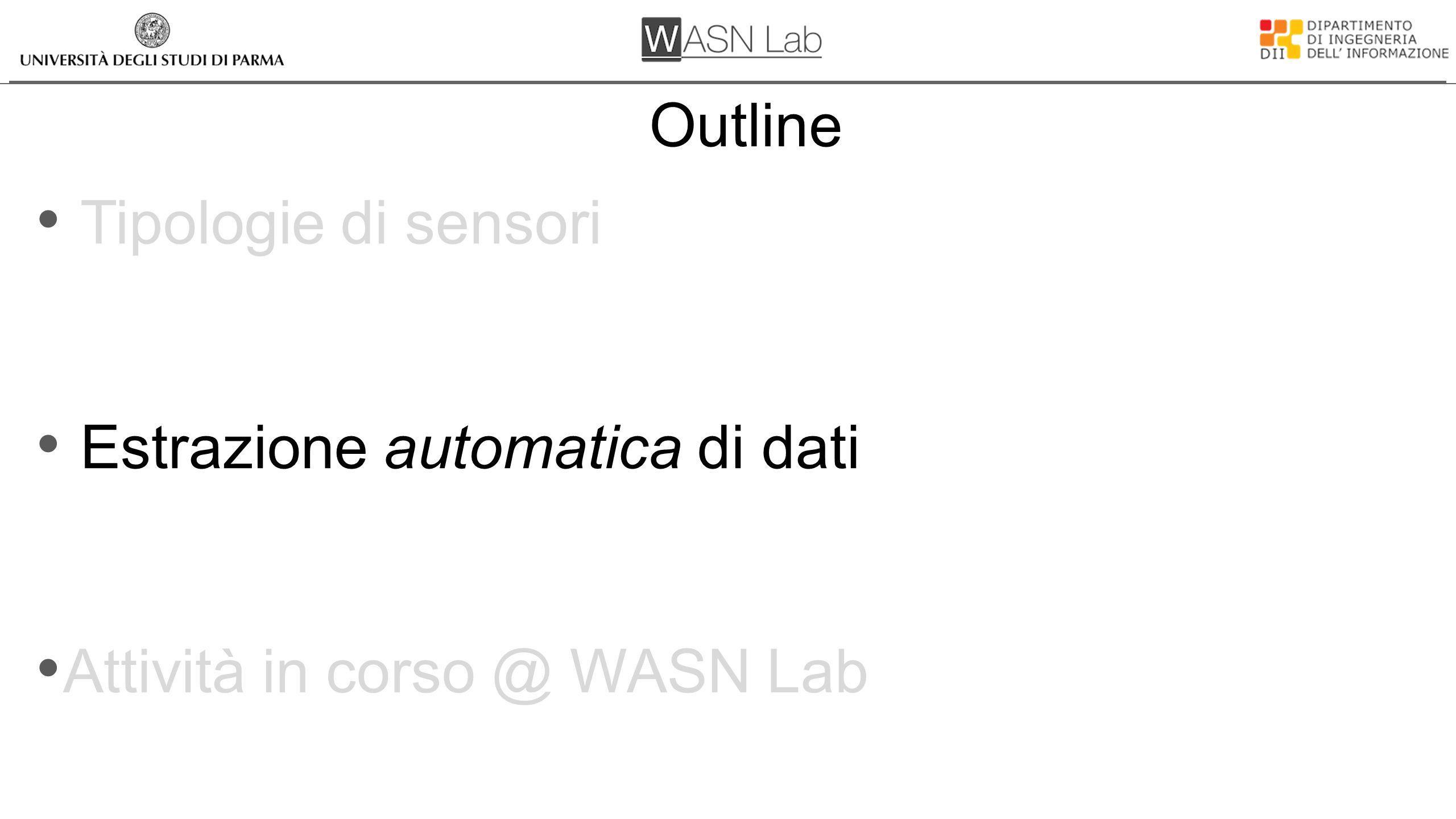 Outline Tipologie di sensori Estrazione automatica di dati Attività in corso @ WASN Lab