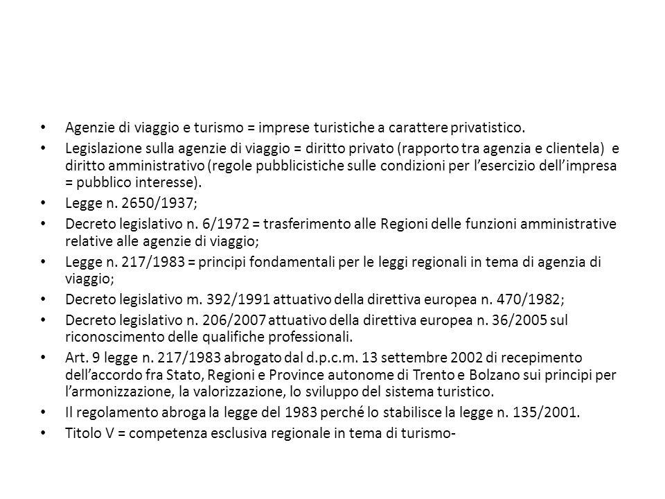 Agenzie di viaggio e turismo = imprese turistiche a carattere privatistico.