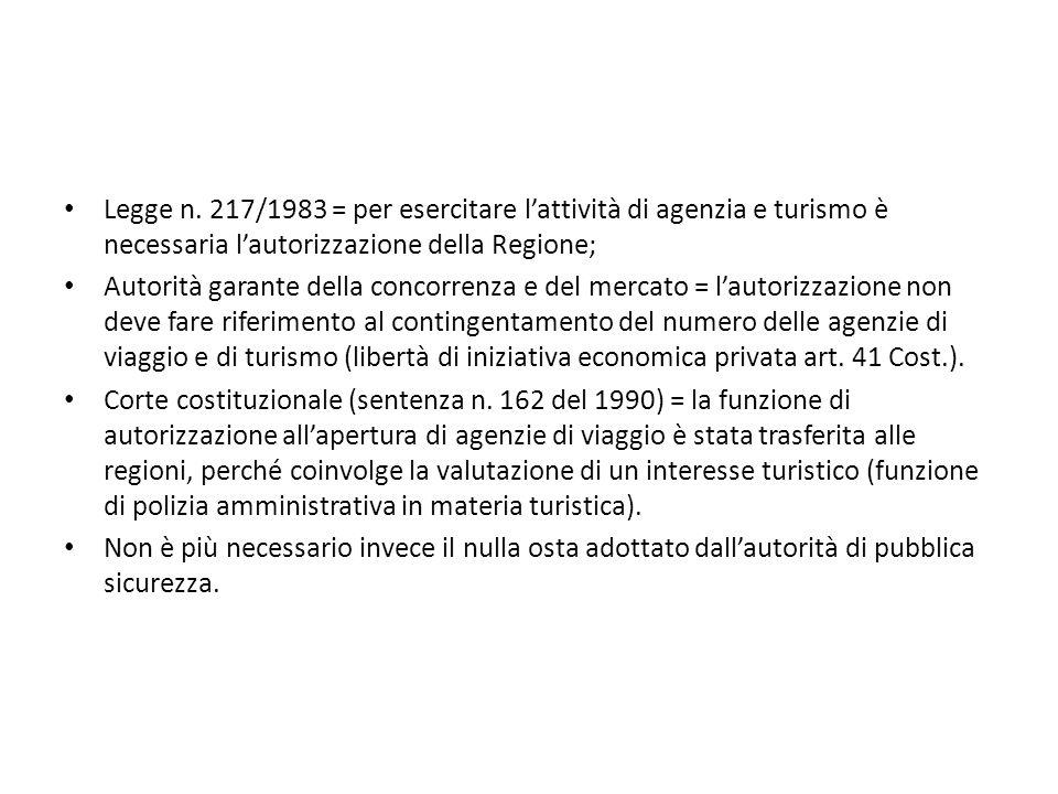 Legge n. 217/1983 = per esercitare l'attività di agenzia e turismo è necessaria l'autorizzazione della Regione;