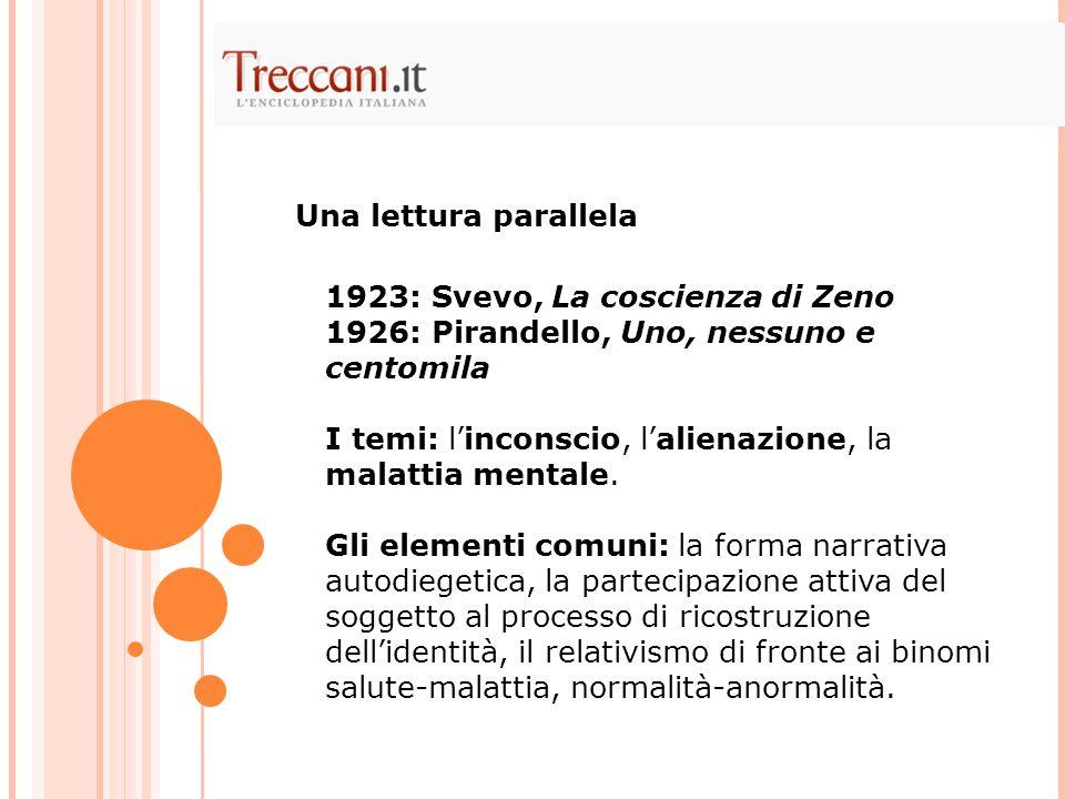Una lettura parallela 1923: Svevo, La coscienza di Zeno. 1926: Pirandello, Uno, nessuno e centomila.