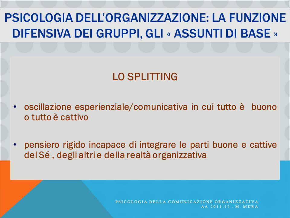 Psicologia dell'organizzazione: la funzione difensiva dei gruppi, gli « assunti di base »